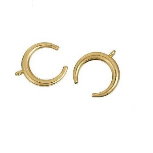 Pendentifs Breloques LUNE 16mm x 11m en acier inoxydable doré LOT DE 4 ou 10