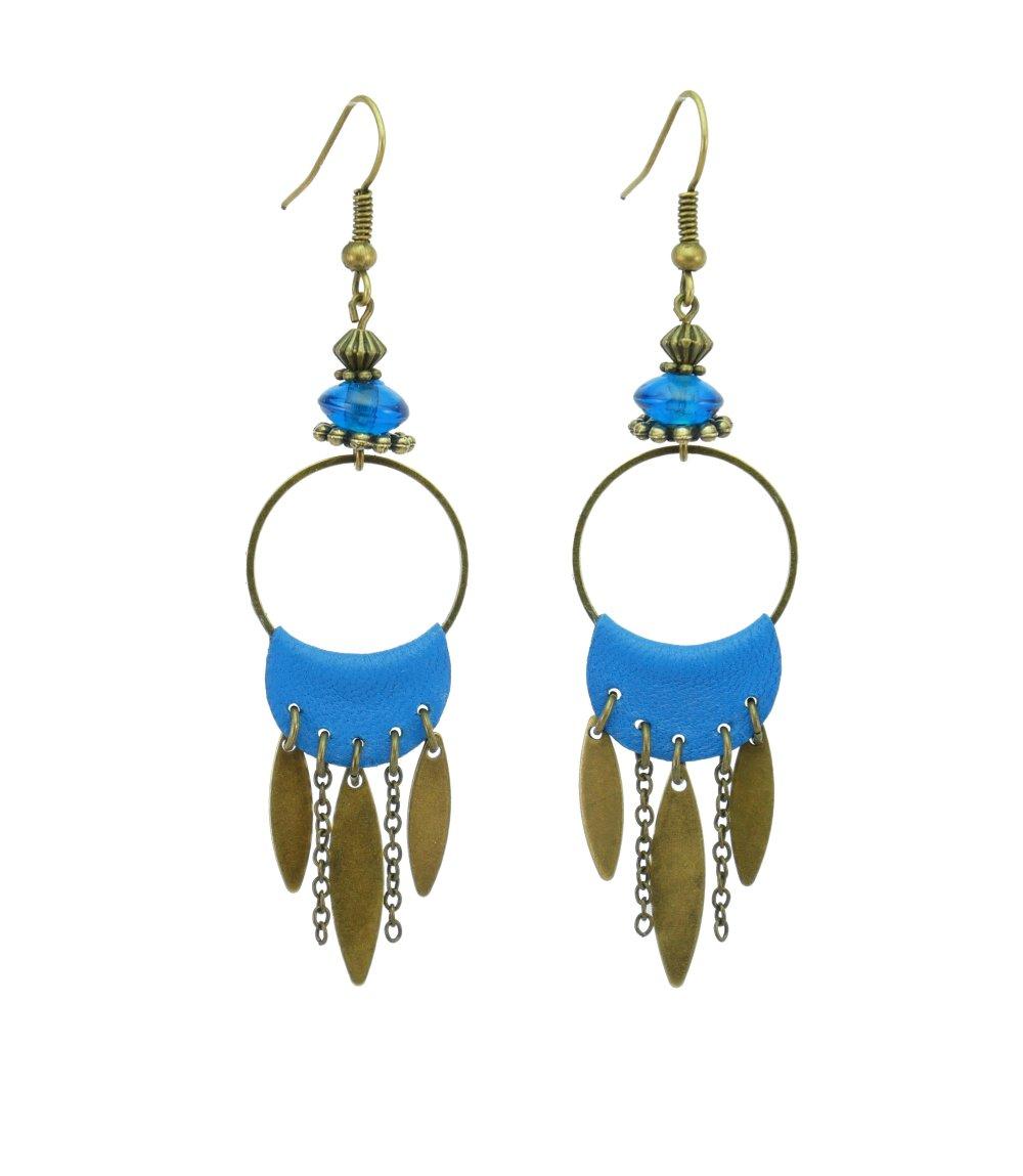 "Boucles d'oreilles ""BANJO"" - Bronze et bleu vif"