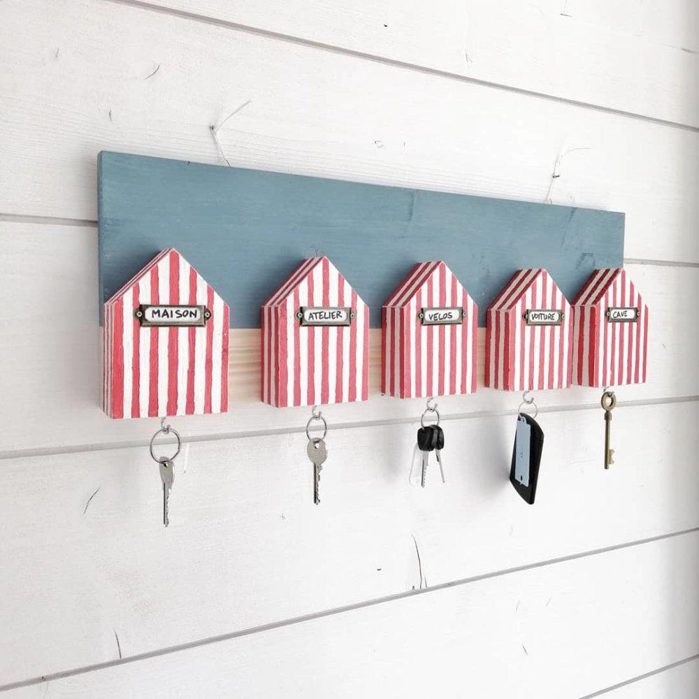 Tableau accroche clés cabanes de plage