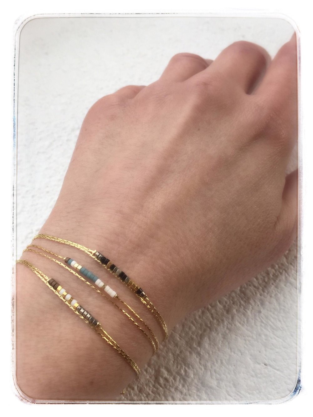 Bracelet double chaine acier perles Miyuki