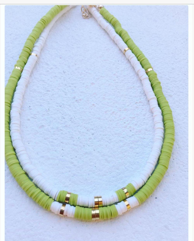 COLLIER  HEISHI /Blanc -Vert chartreuse