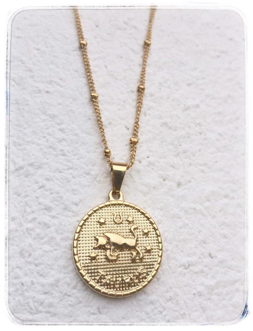Collier  astrologique acier or TAUREAU