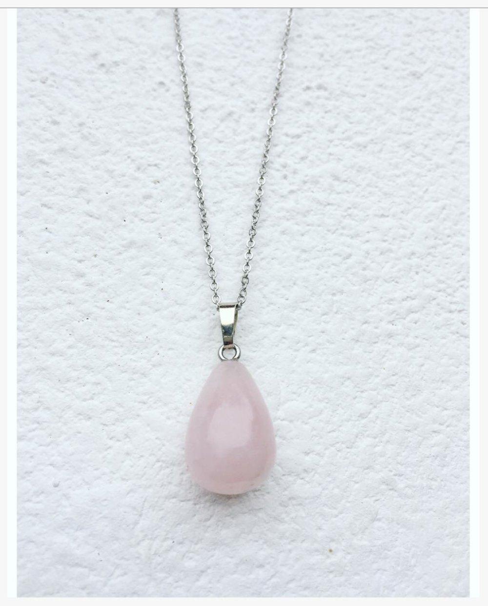 Collier/ pendentif quartz rose