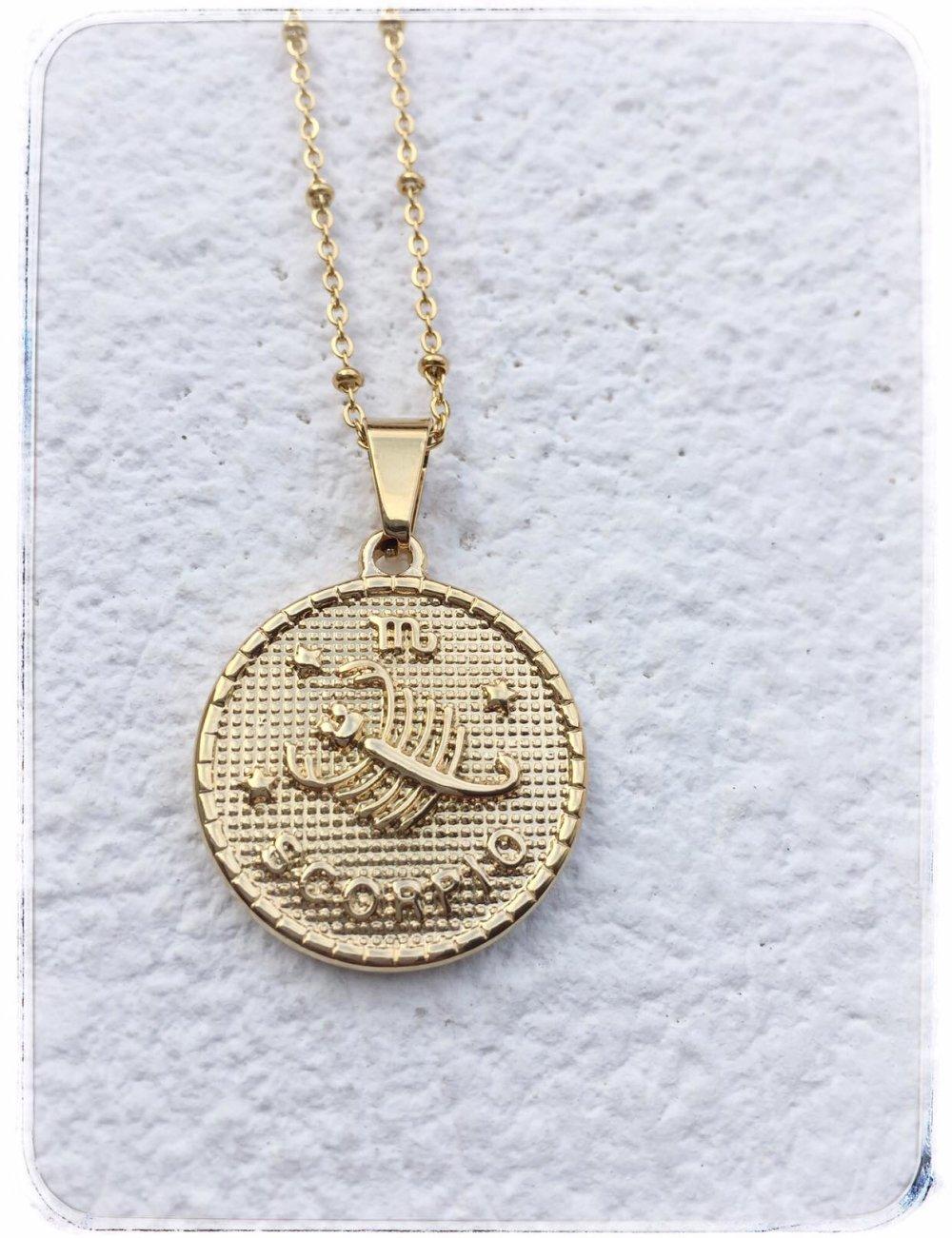 Collier  astrologique acier or  SCORPION