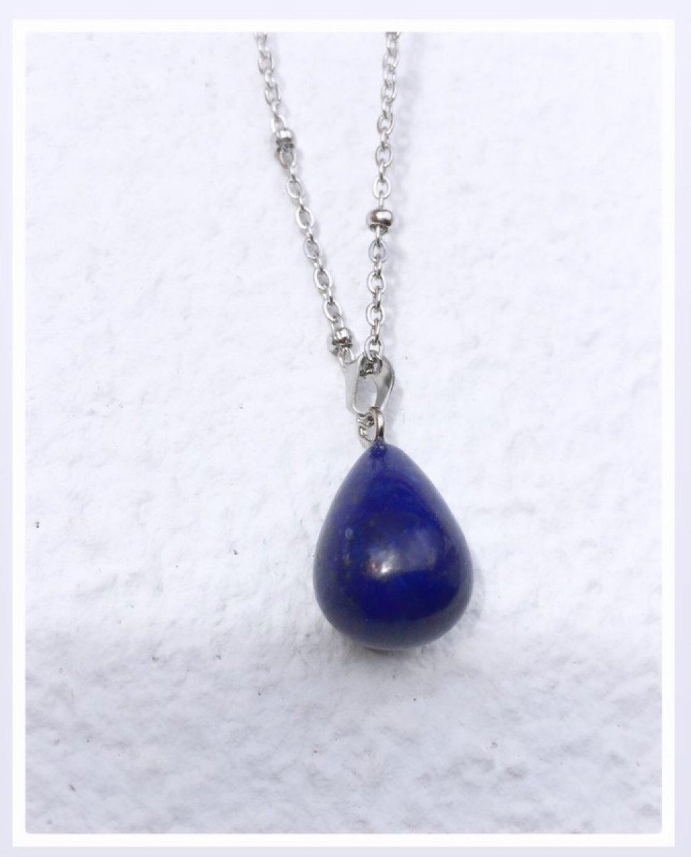 COLLIER  Acier / Pendentif goutte Lapis Lazuli