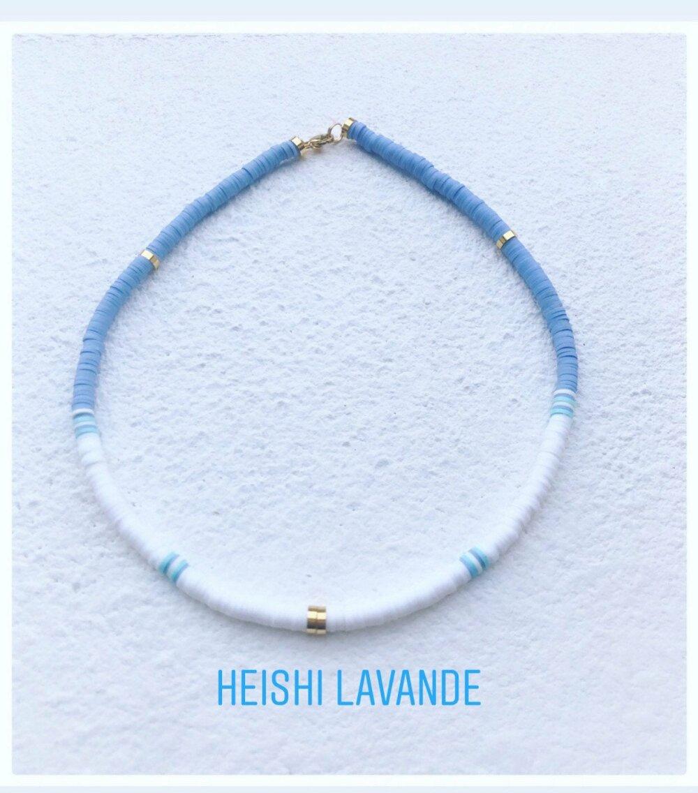 Collier heishi tendance /laiton plaque or / Lilas - Blanc- Turquoise ou Parme
