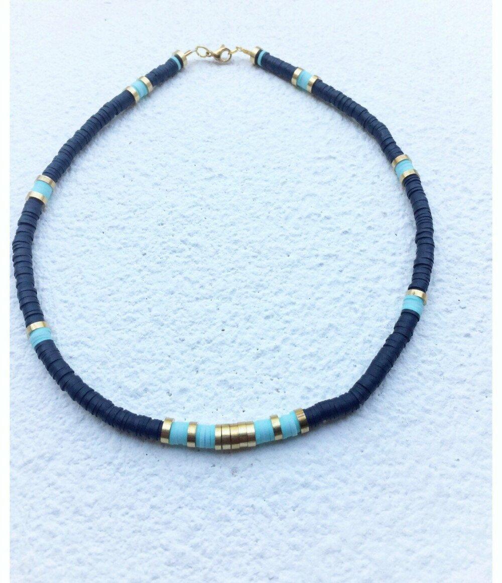 Collier heishi  bleu Marine  /Turquoise