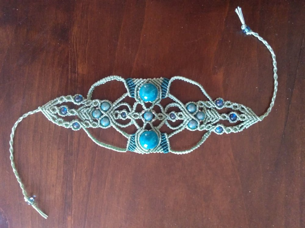Bracelet macramé bleu