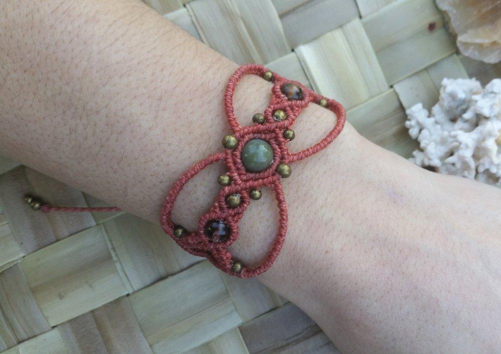 Bracelet en macramé terracota, Agate indienne & Quartz fumé