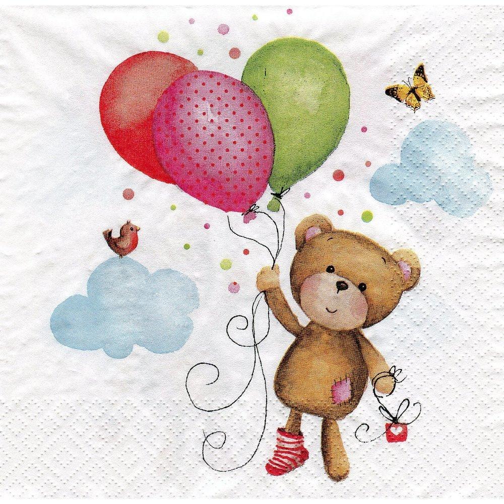 serviette en papier ourson et ses ballons (512)