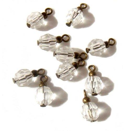 4 pendentifs perles transparentes à facettes apprêts bronze
