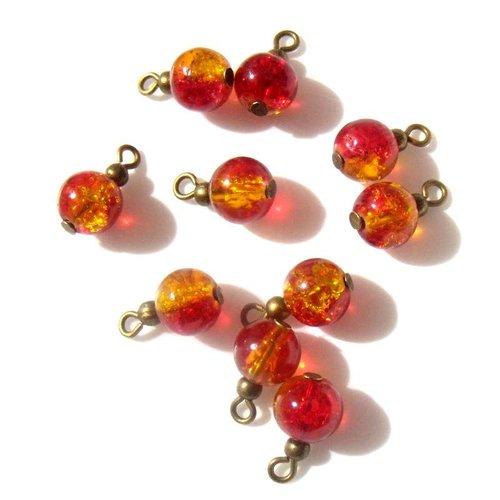 4 pendentifs perles rouges-orange apprêts bronze