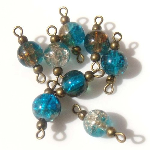 4 connecteurs perles verre craquelés brunes et bleues apprêts bronze