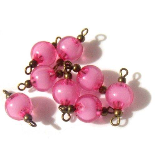 4 connecteurs perles 2 tons de rose apprêts bronze