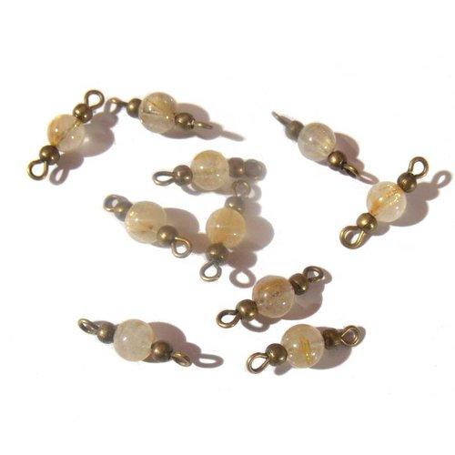 10 mini connecteurs intercalaires bronze couleur miel
