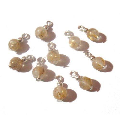 10 mini pendentifs argentés perles verre couleur miel