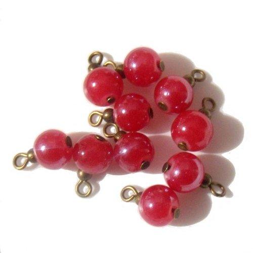 4 pendentifs perles rouges apprêts bronze