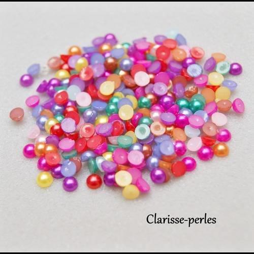 Tube +250 unités demi perles à coller multicolores