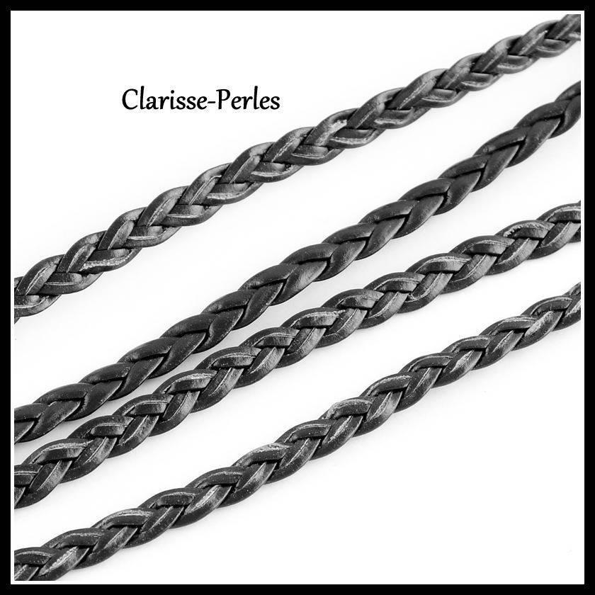 1 mètre cordon plat tressé simili cuir 5mm couleur noir 2mm épaisseur