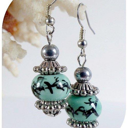 Boucles d'oreilles perles céramique bleue et perles hématites grises ,