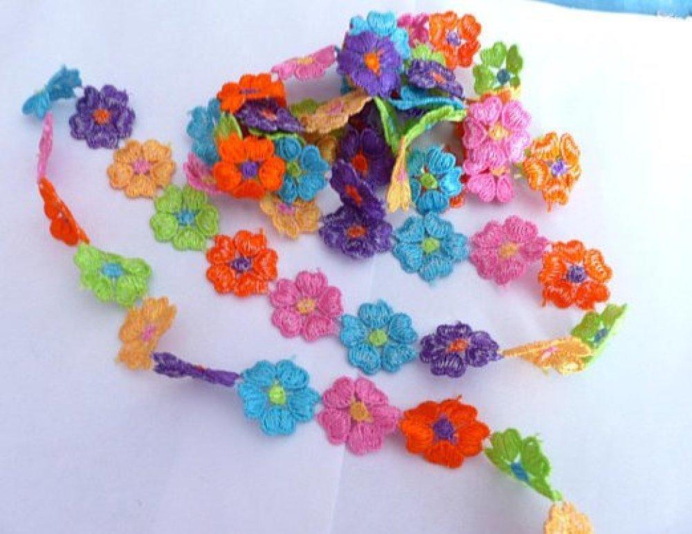 Dentelles en Polyester Fleurs Multicolores