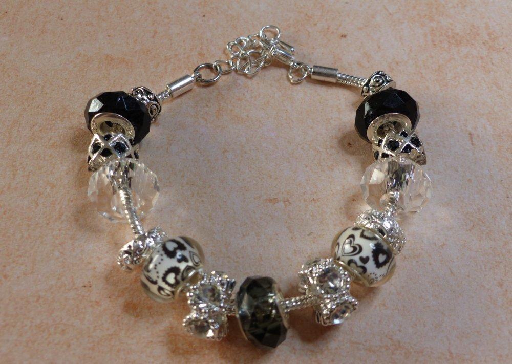 Bracelet perles Européennes de style Pandora noir, argent et strass