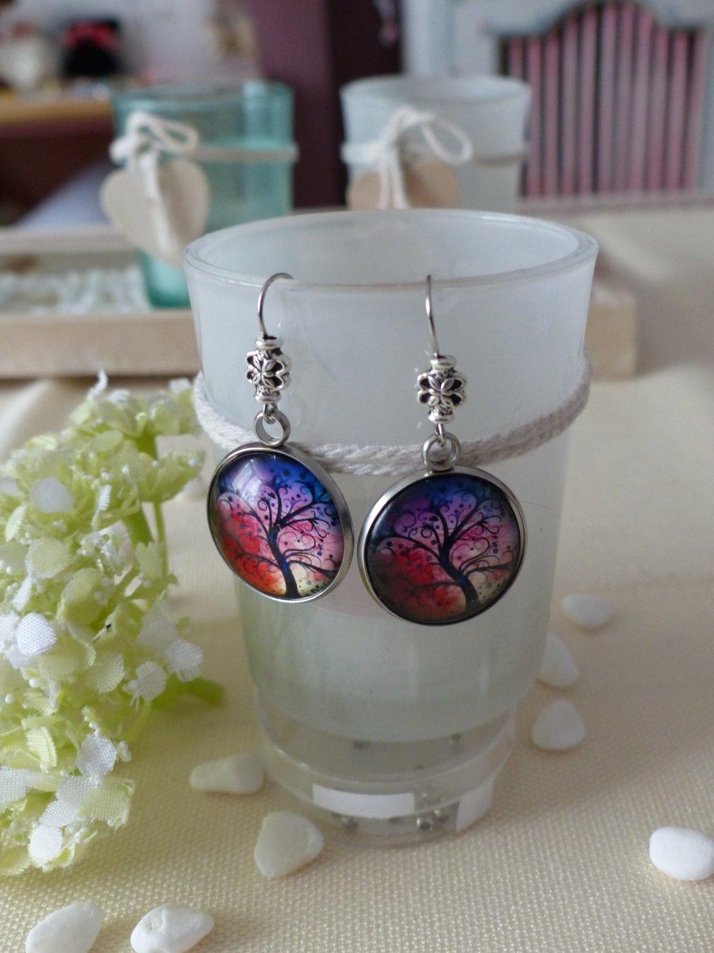 Paire de Boucles d'oreille pendantes arbre de vie aurore Boréale