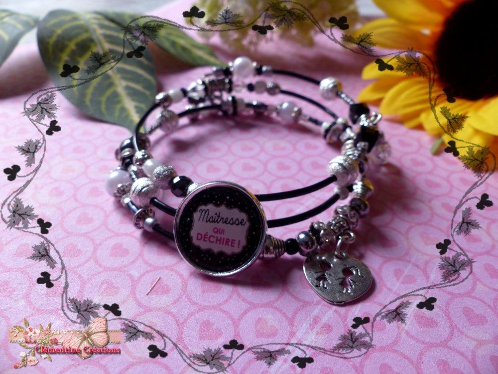 Bracelet ressort 4 rangs black and white Maitresse qui déchire