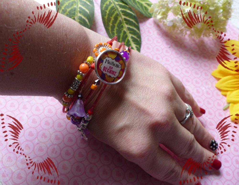 Bracelet ressort 4 rangs orange intense maitresse qui déchire
