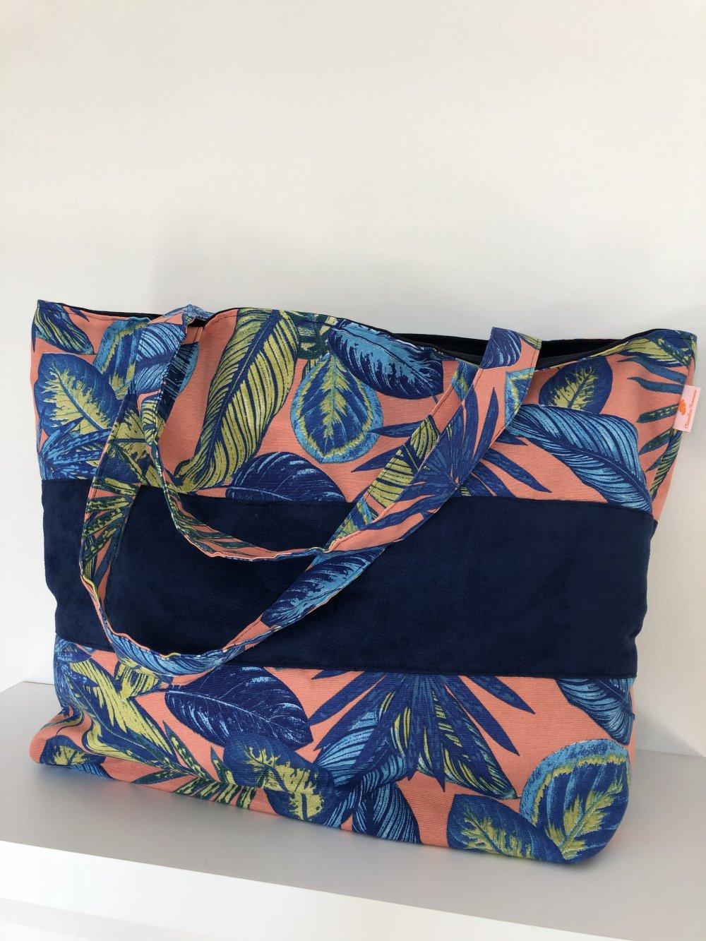 sac de plage, cabas, sac de courses tissu imprimé tissu feuillage exotique