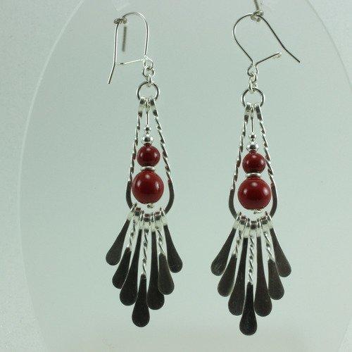 Longue boucle oreille argent ethnique,pendant oreille perle céramique rouge