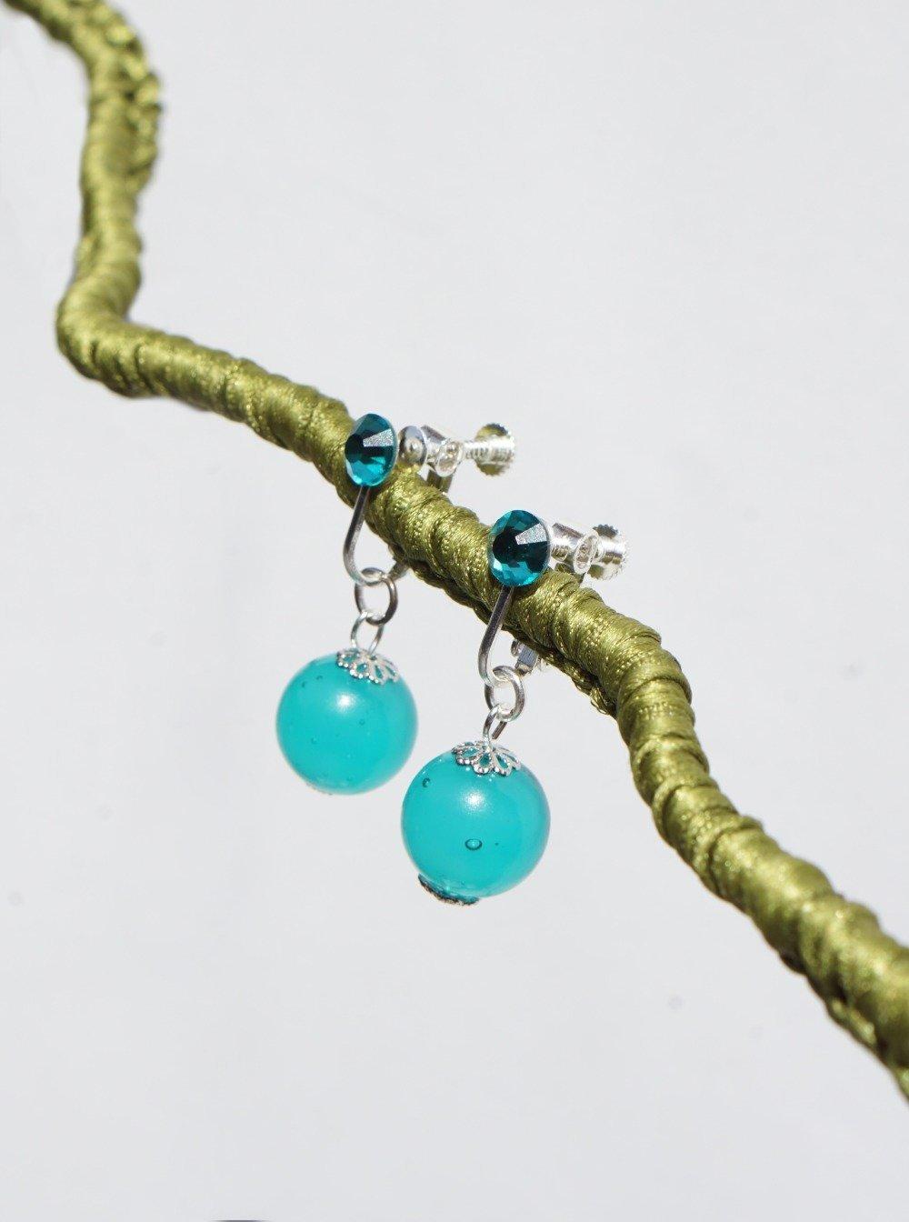 CLIPS Boucles d'oreilles Clip bleu & Argent Murano Venise Cristal  Pendantes Bijoux créateur Création française