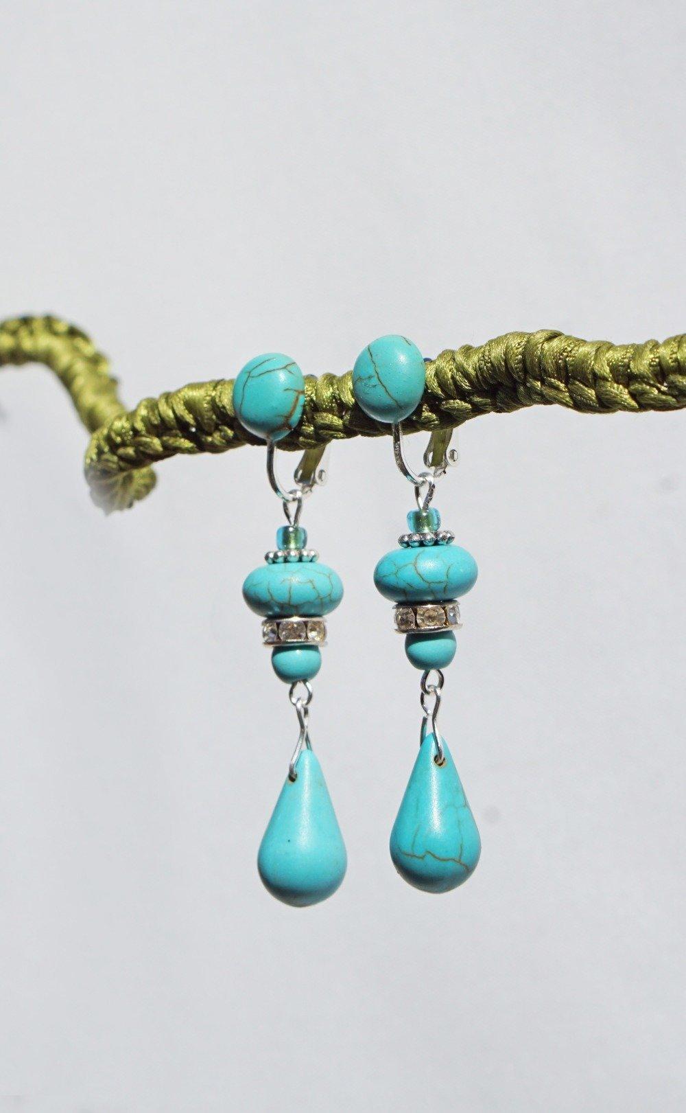 CLIP Boucles d'oreilles clips Turquoise & Argenté Strass Bijoux Créateur Création Française
