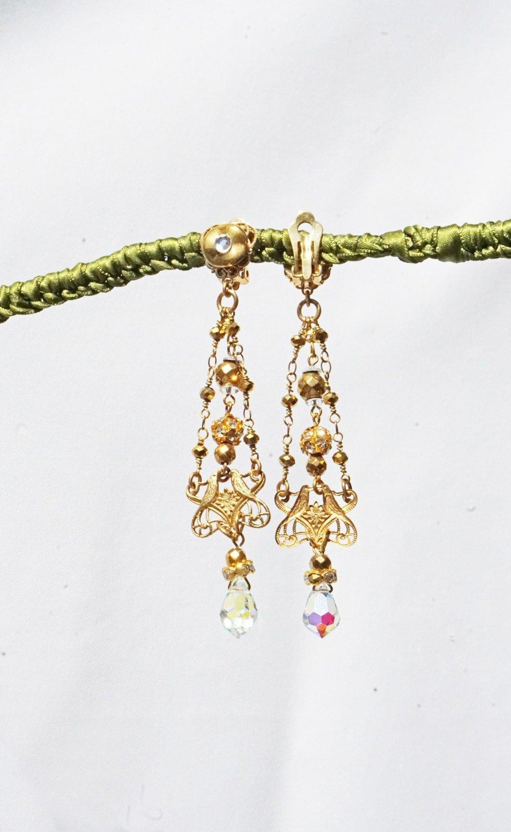 CLIPS Boucles d'oreilles CLIPS Cristal AB & doré C.de Bohême Estampe dorée Bijoux Création française