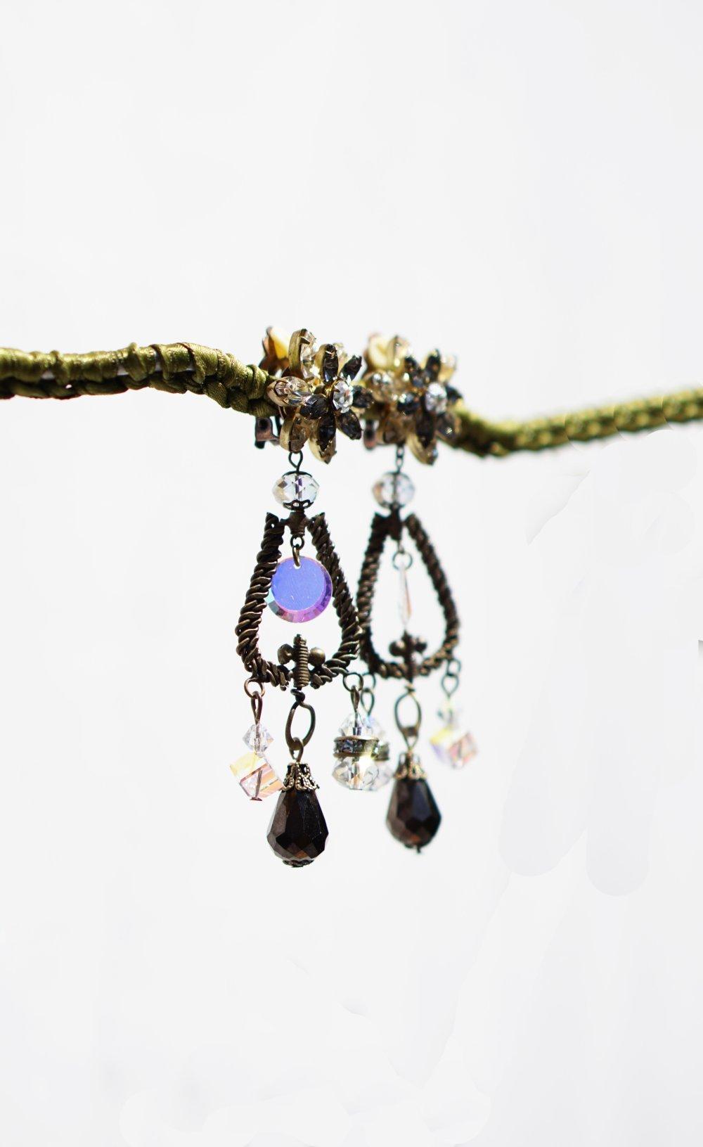 CLIPS Boucles d'oreilles Clips longues Cristal Swarovski & Bronze Murano Bijoux Création Française Fait main nickel free Cadeau pour elle
