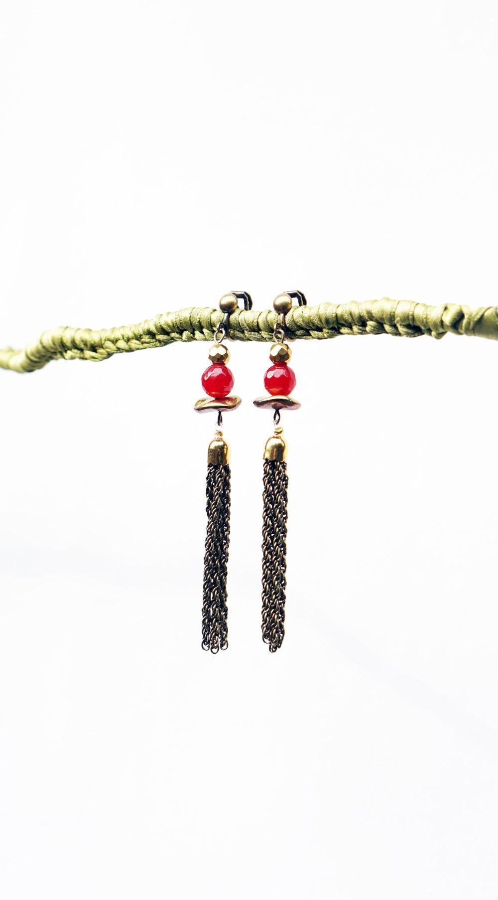 Boucles d'oreilles Longues Clips Rouge bordeaux Grenat & Métal Bronze Agate Gem Czech Cristal de Bohème Bijoux créateur