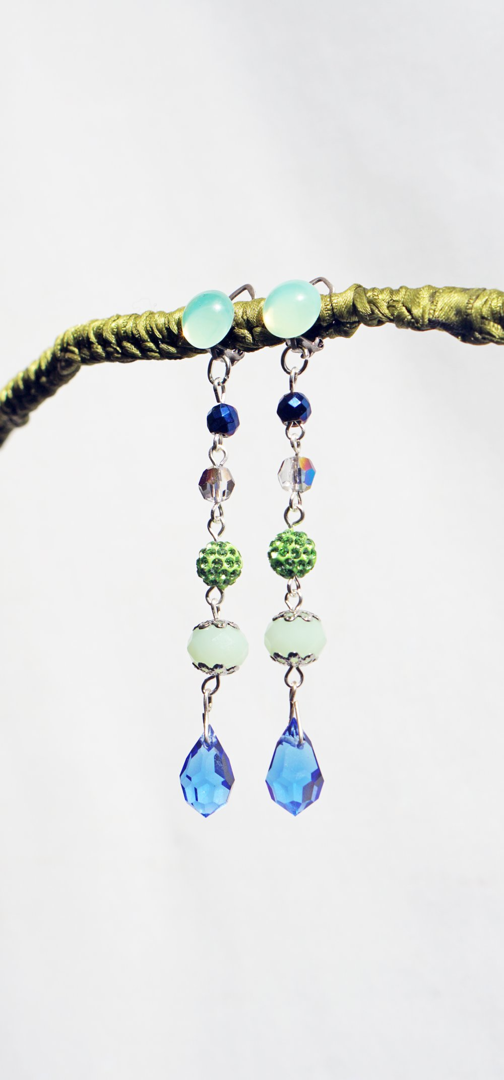 CLIPS Boucles d'oreilles Clips longues Cristal Vert et Bleu & Argent Murano Bijoux Création Française