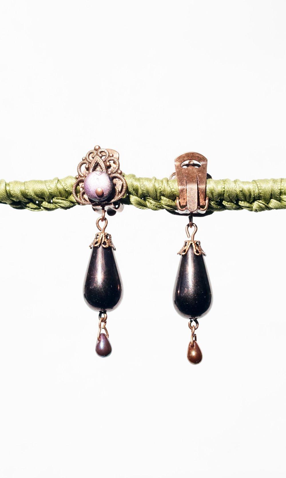 CLIPS Boucles d'oreilles Clips Marron Parme  & cuivre Cristal de Bohème Czech Bijoux Créateur création Française