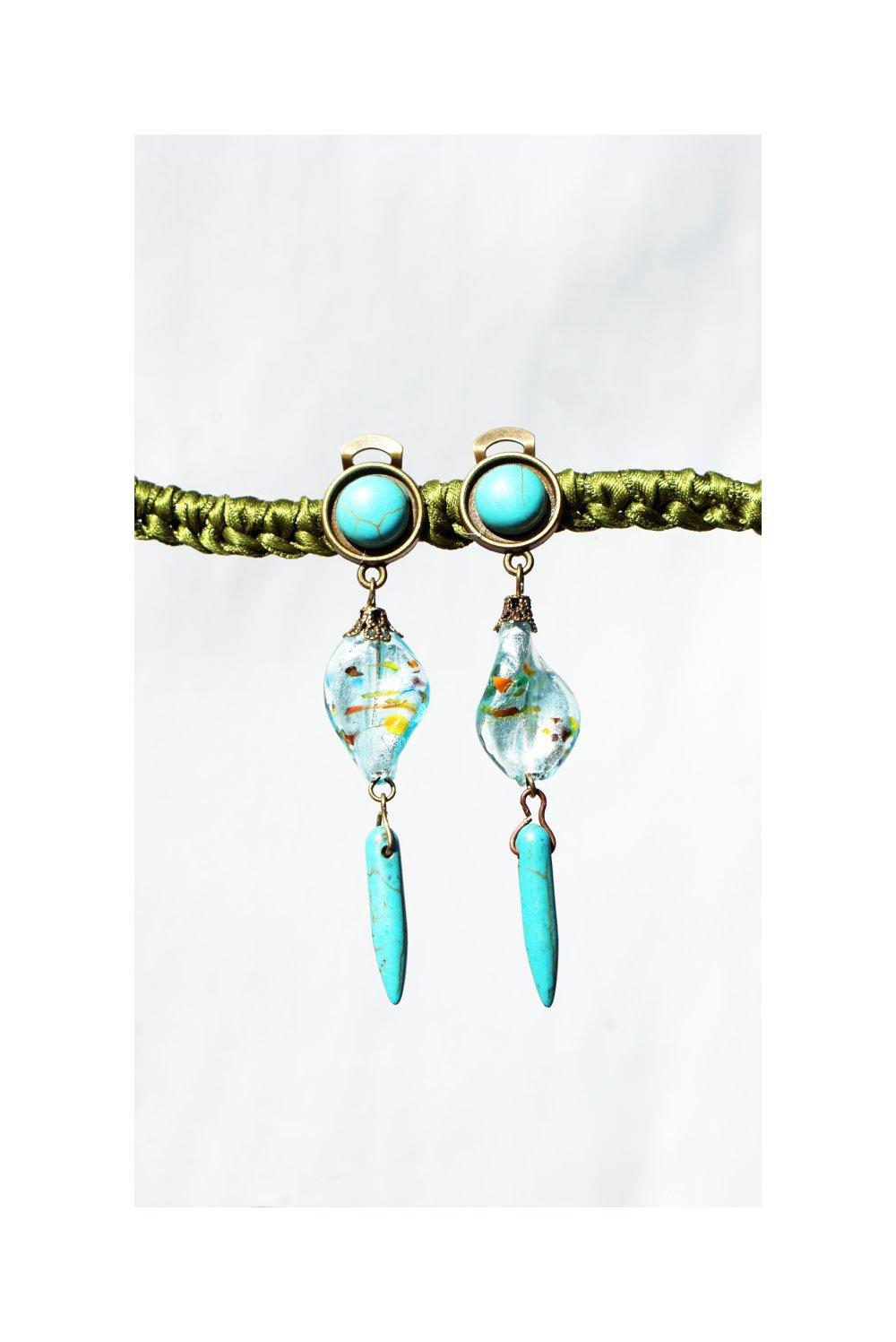 CLIP Boucles d'oreilles clips Bleu turquoise & bronze Cristal Perle Murano Bijoux créateur Création française