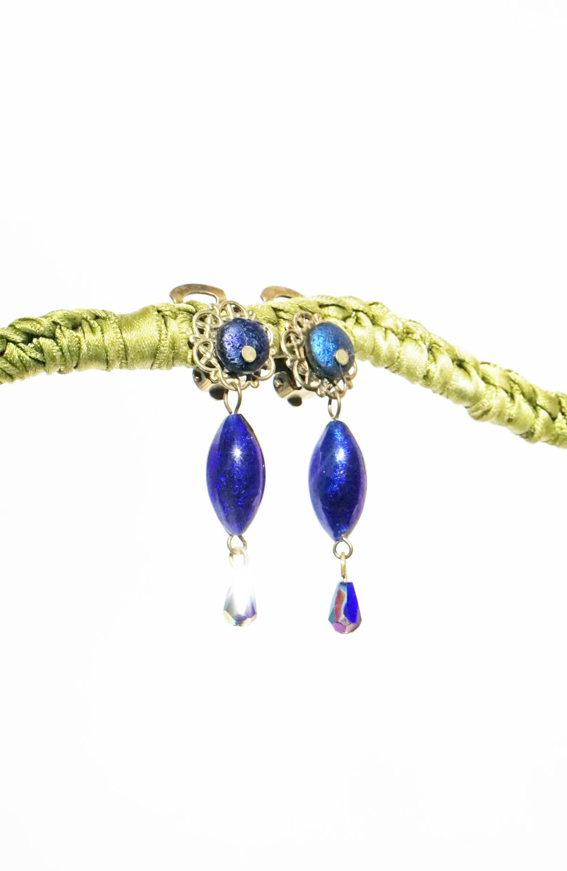 CLIPS Boucles d'oreilles Clips bleu fonçé & bronze Perle de Murano Bijoux Créateur Française Fait main