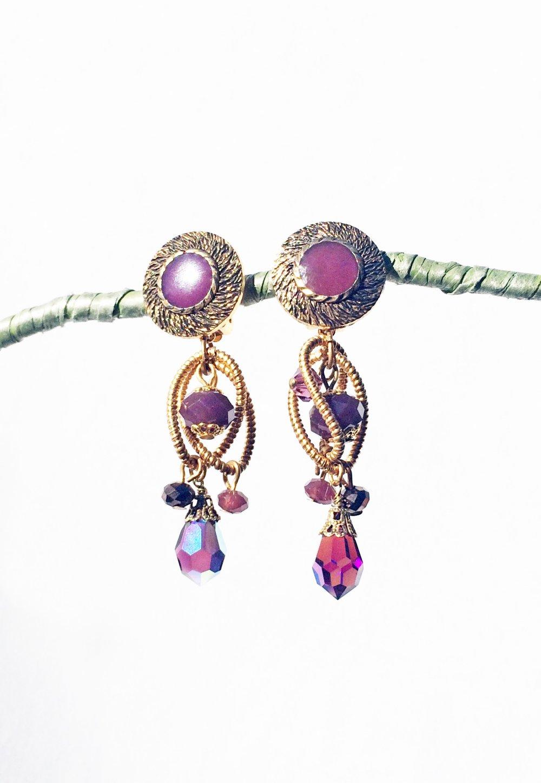 CLIPS Boucles d'oreilles Clips Vintage Violet & Vieux doré Boucles pendantes Bijoux Création France Fait main