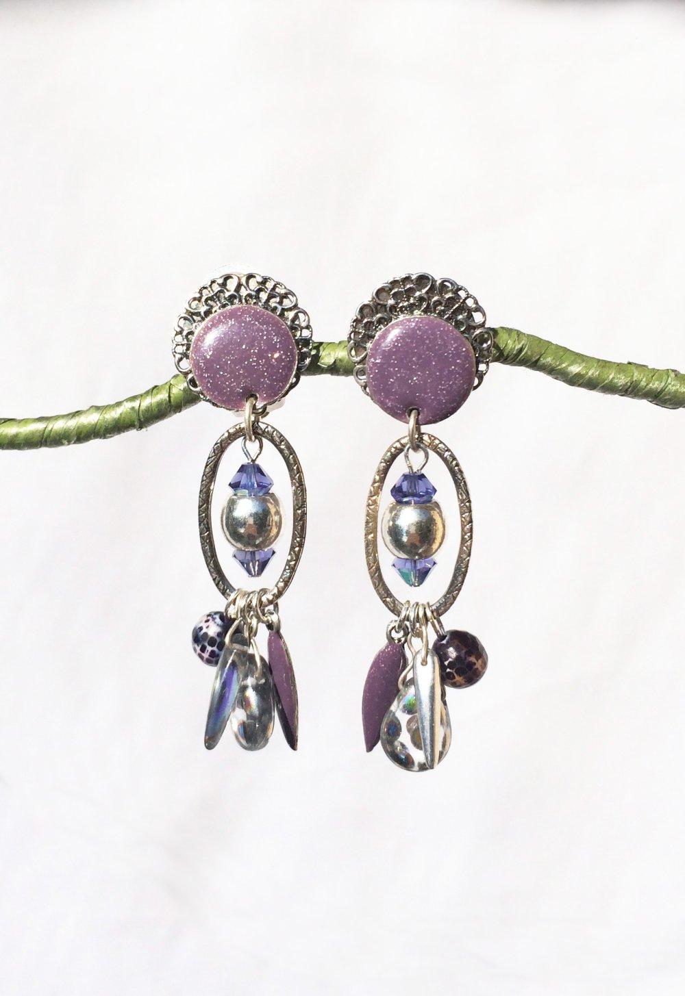 CLIP Boucles d'oreilles Clips Violet  & argenté Cloisonné Bijoux Créateur Création française