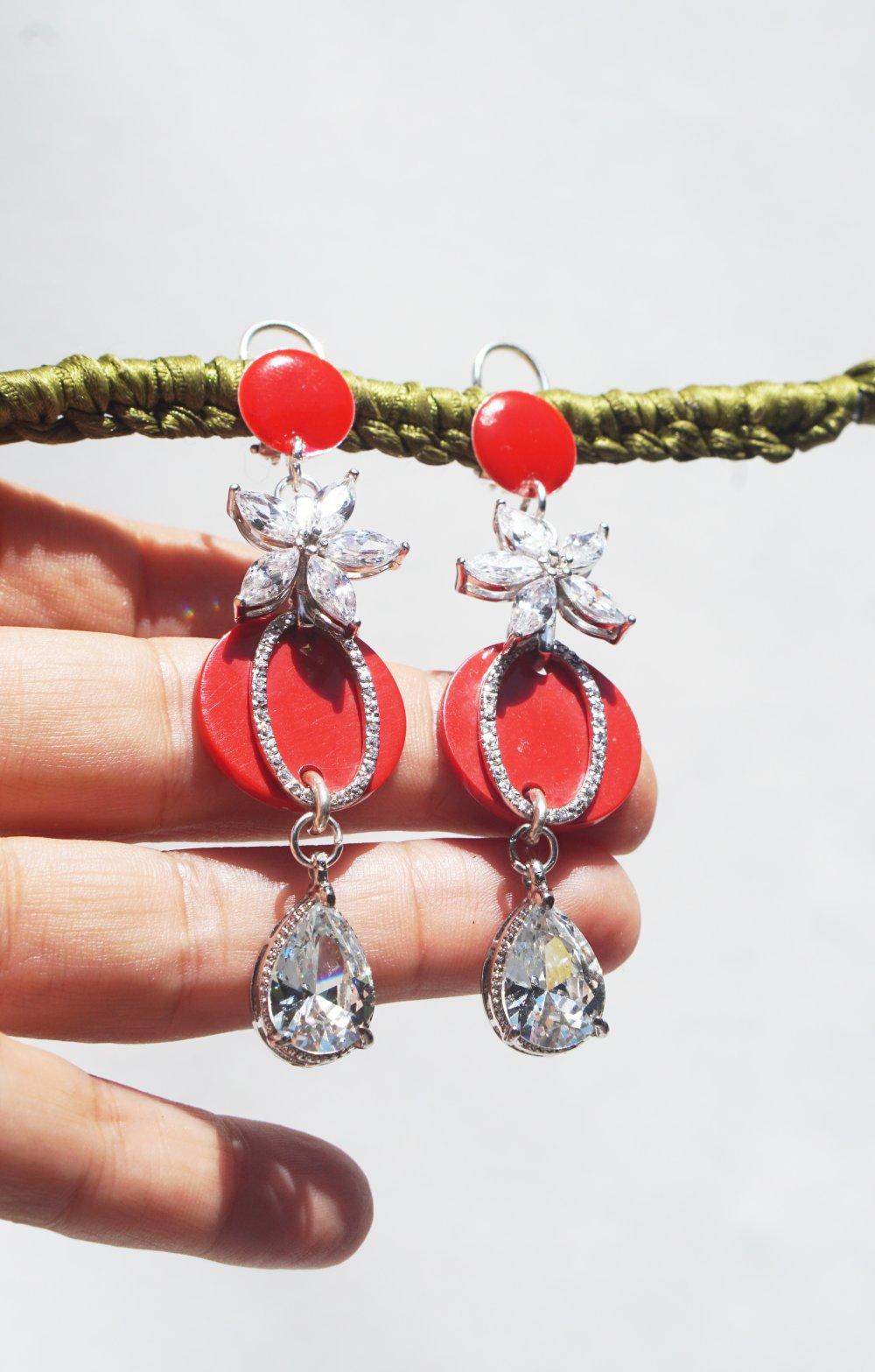Argent 925 Boucles d'oreilles CLIPS rouge lumineux Cristal Zirconia Bijoux créateur Création française