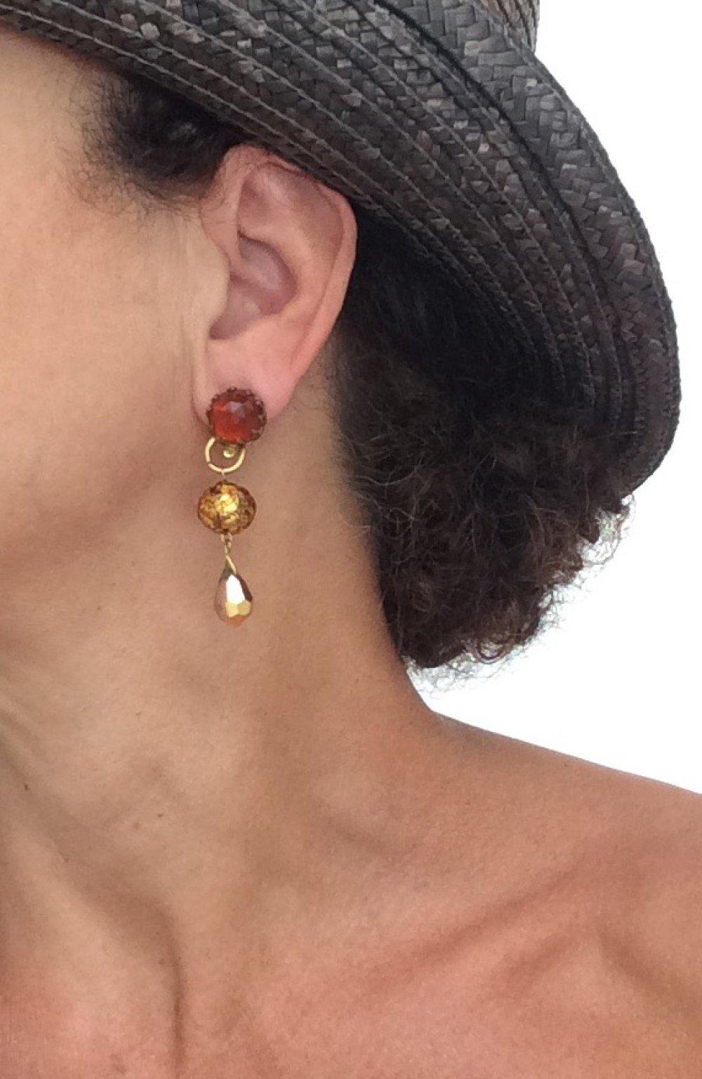 CLIPS Boucle d'oreille Clip Ambre & Doré Cristal de Bohême Cristal Bijoux créateur Création Française Fait main