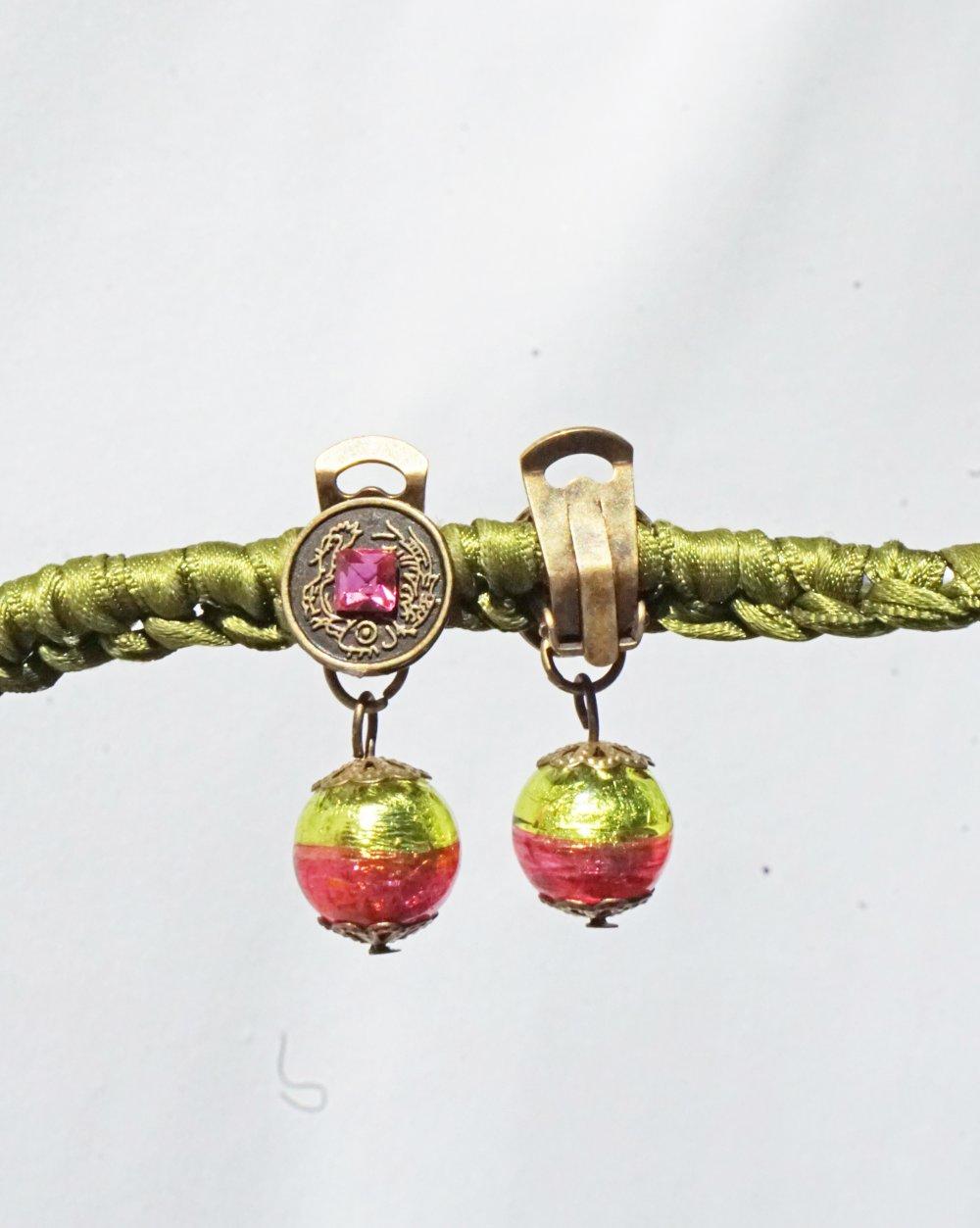 CLIPS Boucles d'oreilles clips Rose & vert Perle Murano Venise Bijoux Créateur Création française