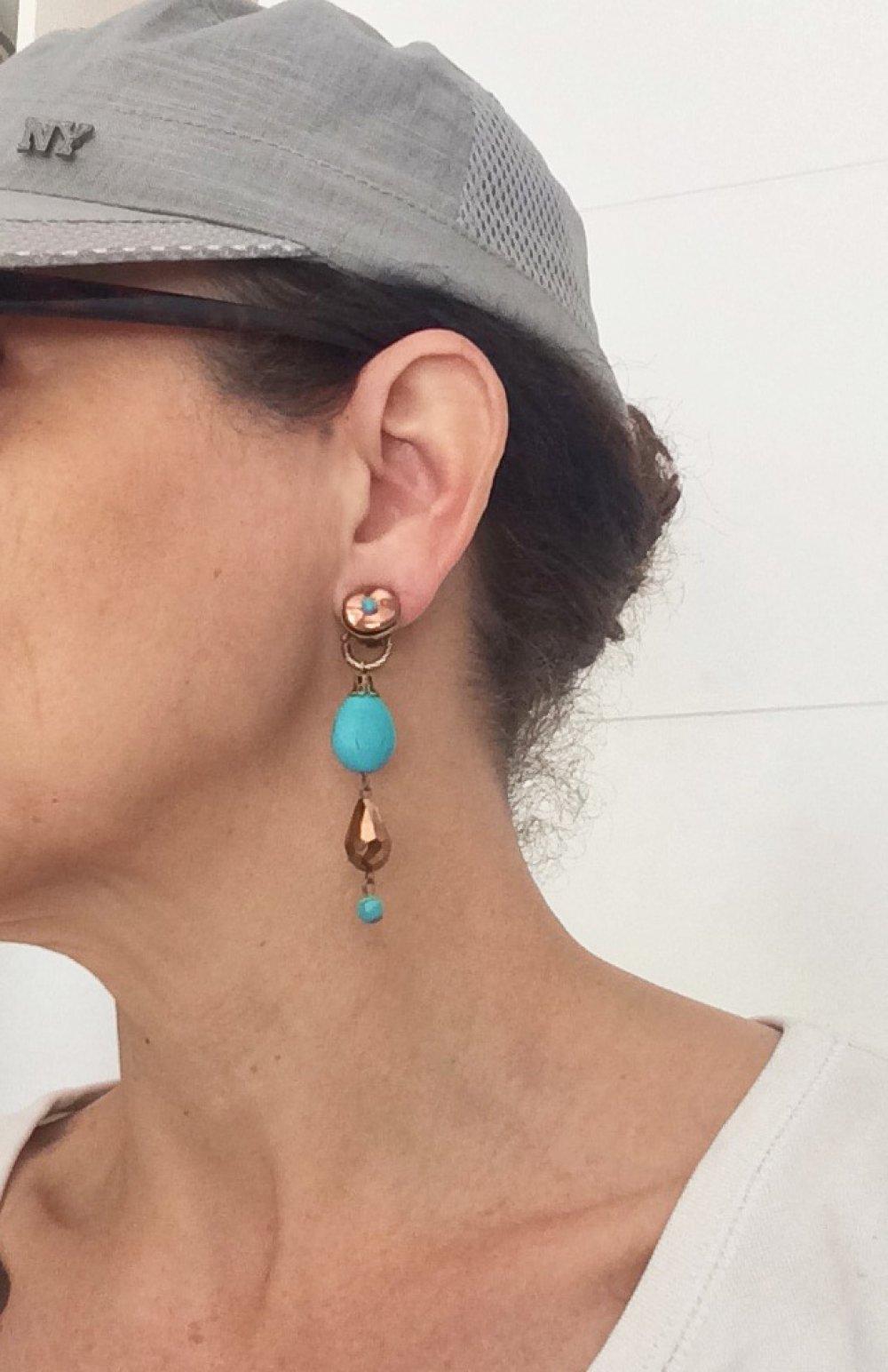 CLIP Boucles d'oreilles clips Bleu turquoise & cuivre Cristal de Bohême Bijoux créateur