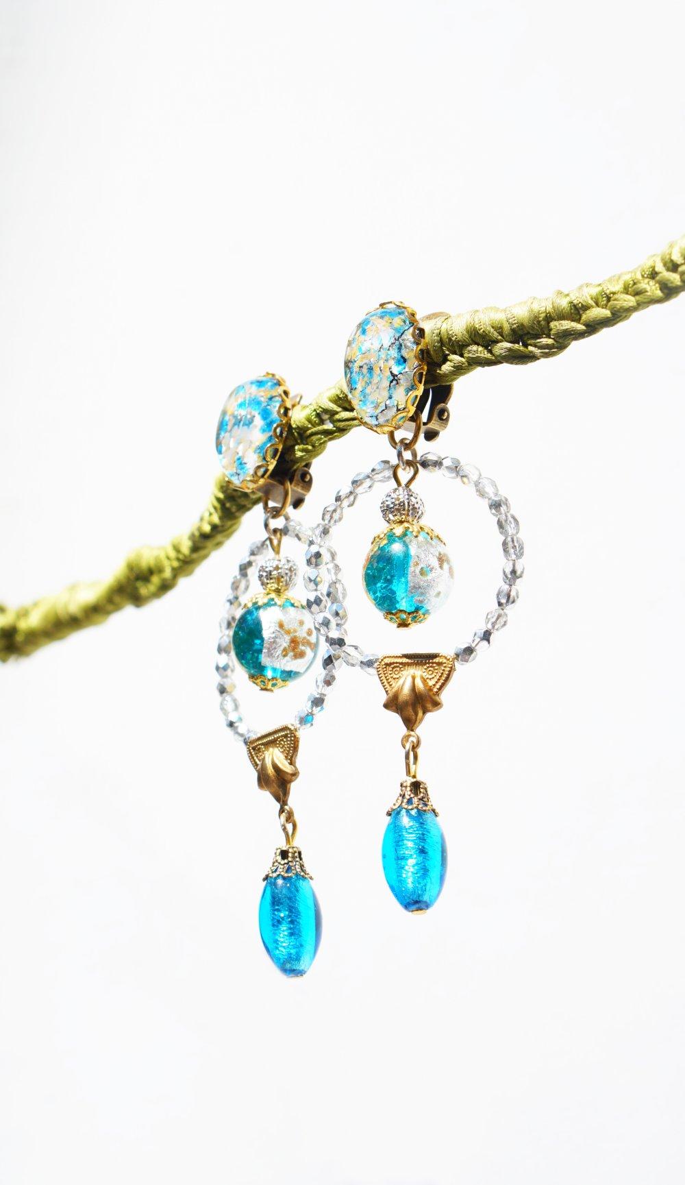 CLIP Boucles d'oreilles Murano Bleu & doré-Argent Longues Murano Venise Cabochon vintage doré Bijoux créateur Fait main