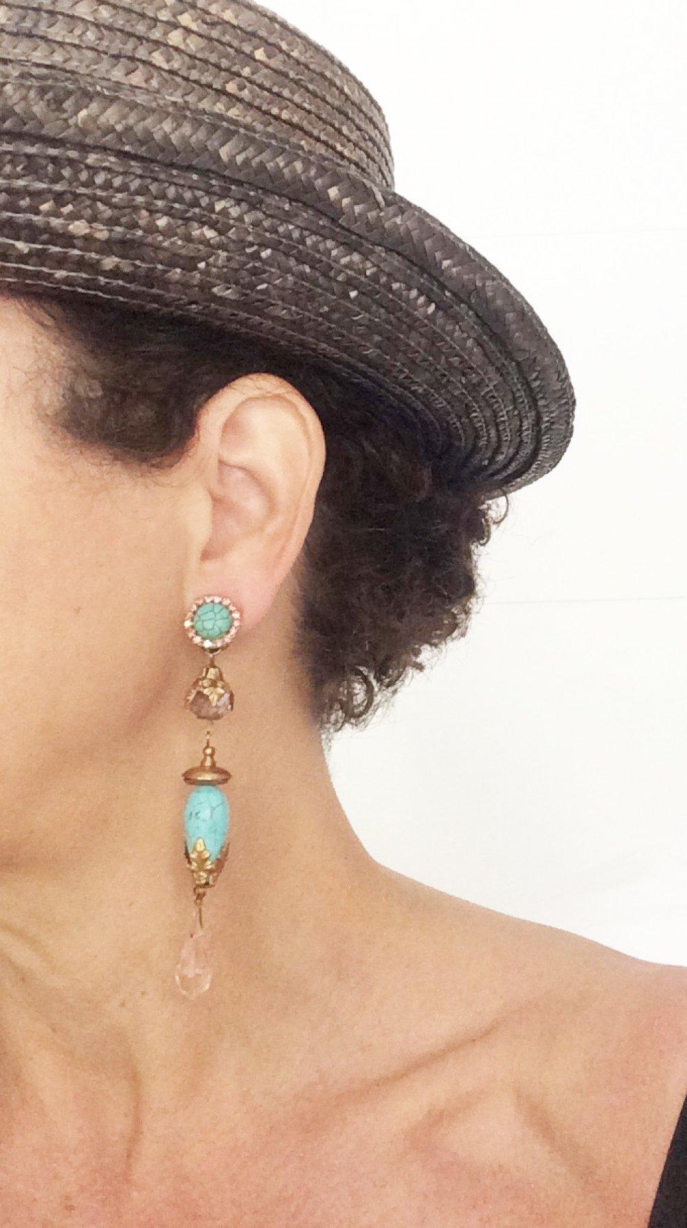 CLIP Boucles d'oreilles clips Bleu turquoise & bronze Cristal Vintage Bijoux créateur Création française