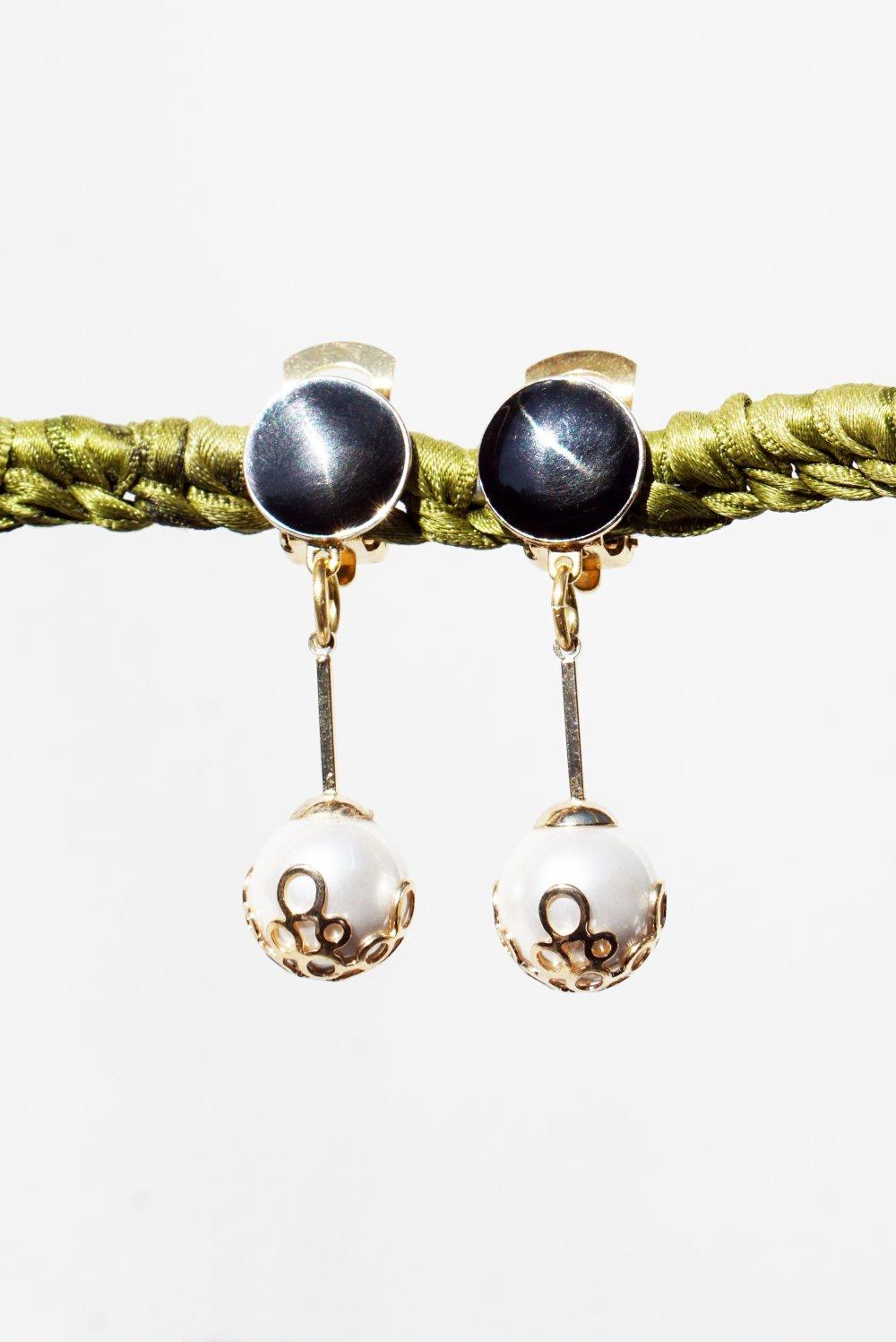 CLIPS Boucles d'oreilles Clips Noir Doré & Argenté Perle de Nacre Bijoux Créateur création Française Fait main