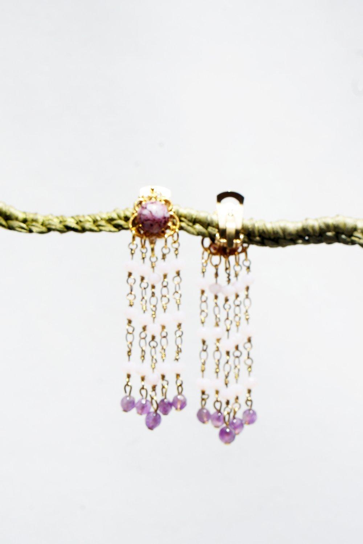 CLIP Boucles d'oreilles Clips RoseViolet & Doré chainette perles facettes cristal Cristal de Bohême Bijoux Création Française